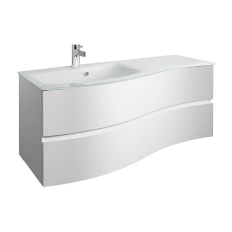 Bauhaus Svelte 120 Two Drawer Vanity Unit & Ice White Glass Basin - White Gloss