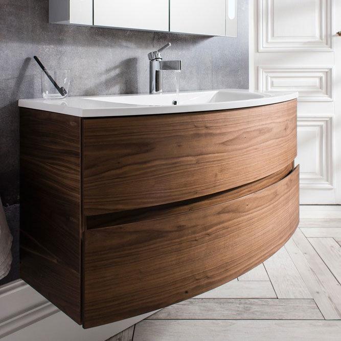 Bauhaus - Svelte Two Drawer Vanity Unit & Basin - American Walnut Feature Large Image