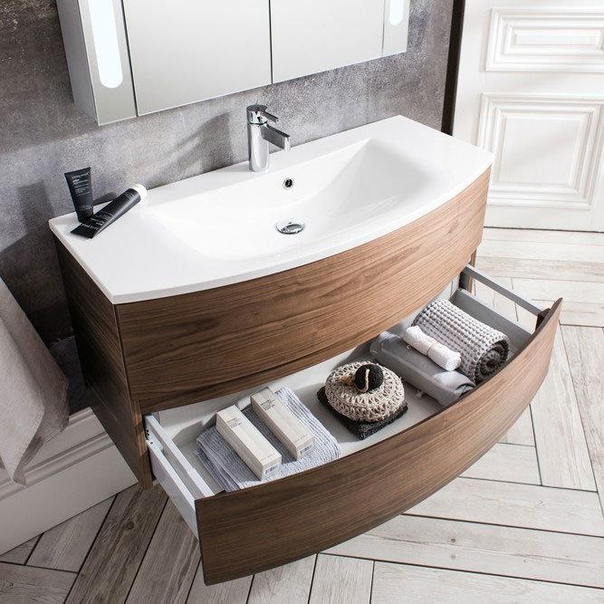Bauhaus - Svelte Two Drawer Vanity Unit & Basin - American Walnut Standard Large Image