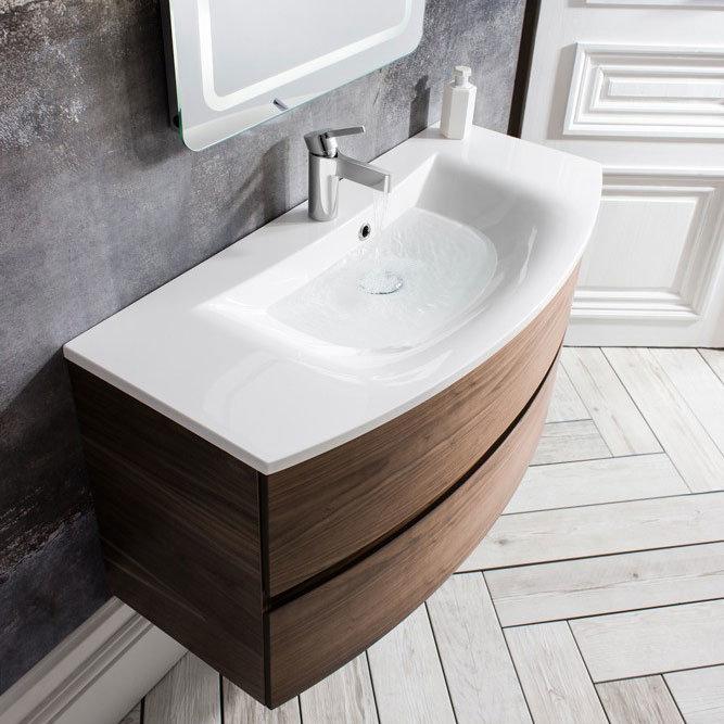 Bauhaus - Svelte Two Drawer Vanity Unit & Basin - American Walnut In Bathroom Large Image