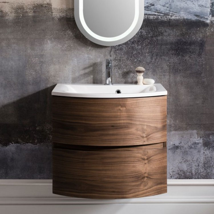 Bauhaus - Svelte Two Drawer Vanity Unit & Basin - American Walnut additional Large Image