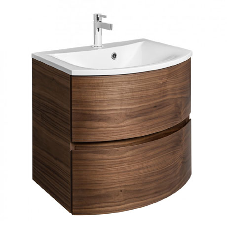 Bauhaus - Svelte Two Drawer Vanity Unit & Basin - American Walnut