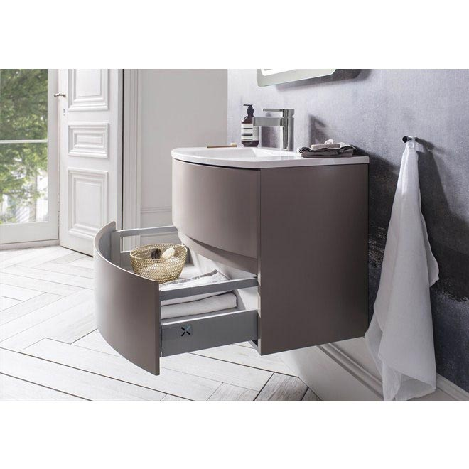 Bauhaus - Svelte Two Drawer Vanity Unit & Basin - Matt Coffee Feature Large Image