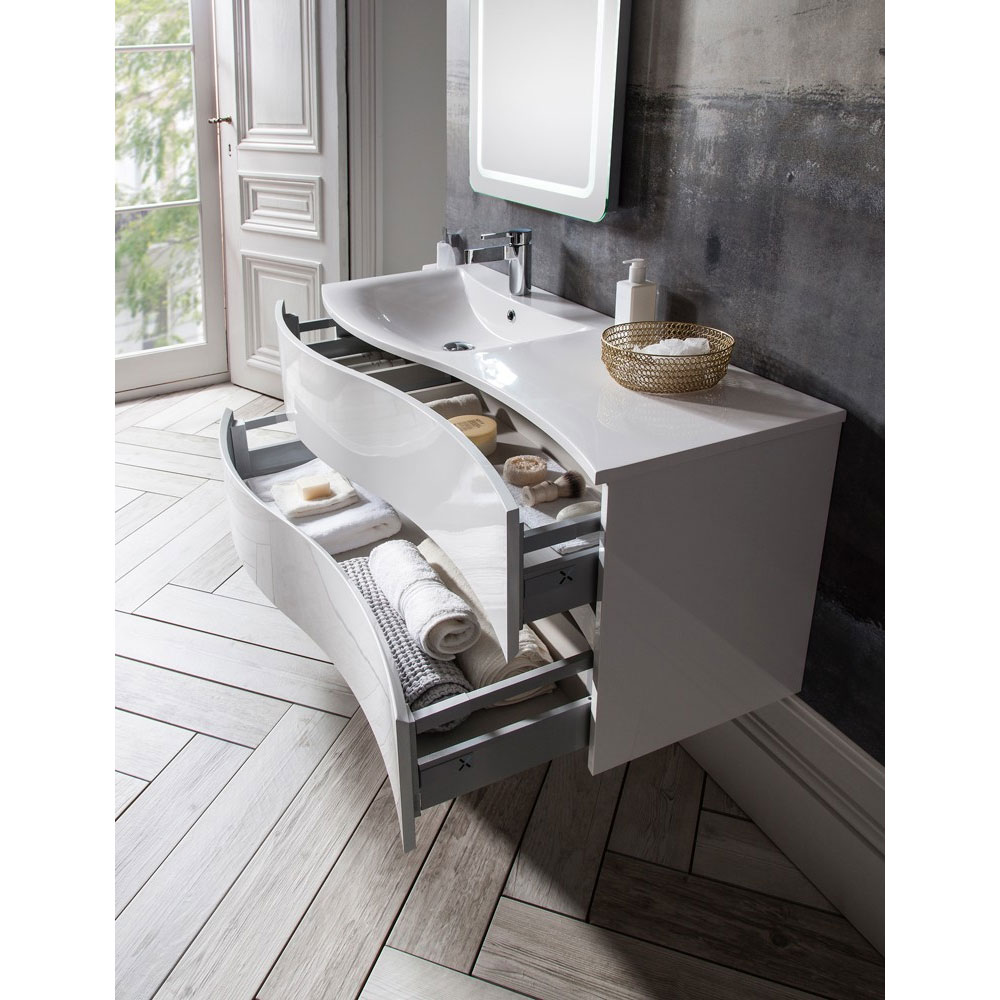 Bauhaus - Svelte Two Drawer Vanity Unit & Basin - White Gloss profile large image view 2