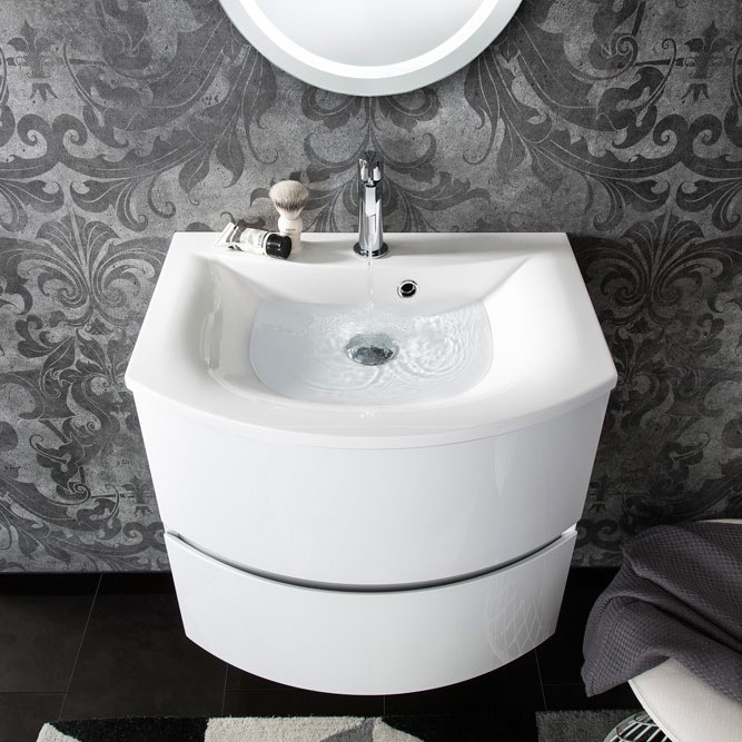 Bauhaus - Svelte Two Drawer Vanity Unit & Basin - White Gloss profile large image view 4