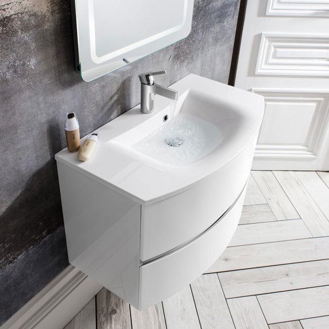 Bauhaus - Svelte Two Drawer Vanity Unit & Basin - White Gloss profile large image view 5