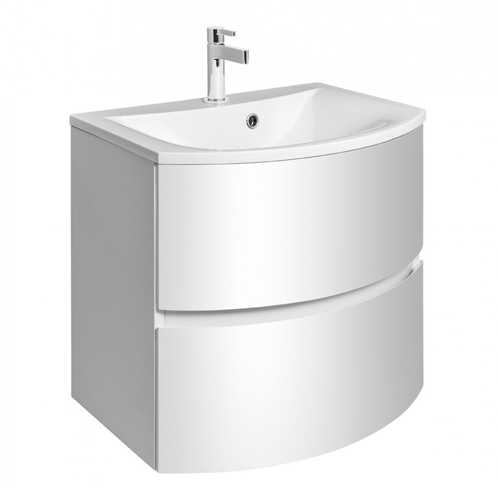 Bauhaus - Svelte Two Drawer Vanity Unit & Basin - White Gloss Large Image
