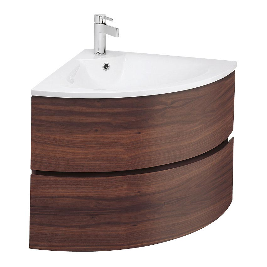 Bauhaus - Svelte Two Drawer Corner Unit & Basin - American Walnut profile large image view 1