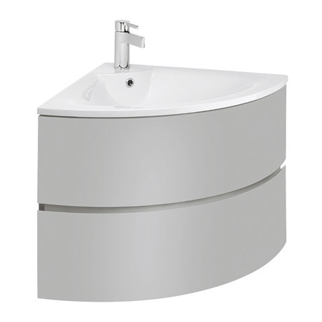 Bauhaus Svelte Two Drawer Corner Unit & Basin - Storm Grey Matt