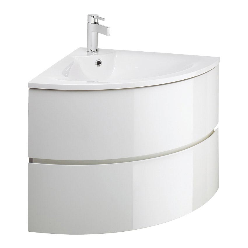 Crosswater - Svelte Two Drawer Corner Unit & Basin - White Gloss
