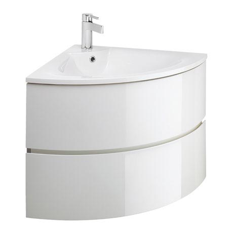 Bauhaus - Svelte Two Drawer Corner Unit & Basin - White Gloss