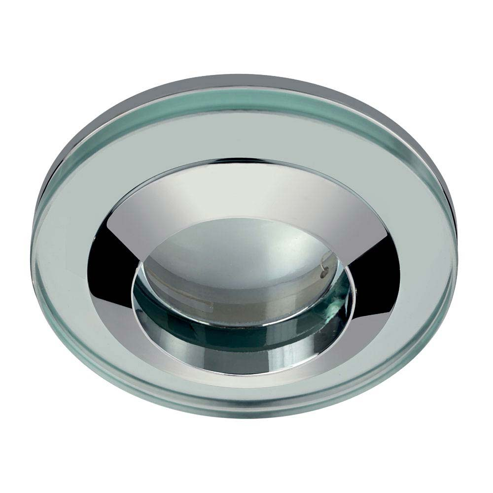 Hudson Reed Chrome Round Glass Shower Light Fitting - SE380010 profile large image view 1