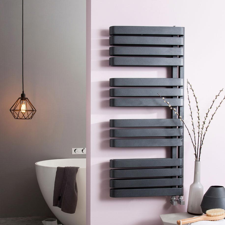 Bauhaus Svelte Towel Rail - 500 x 1100mm - Metallic Black Matte Profile Large Image