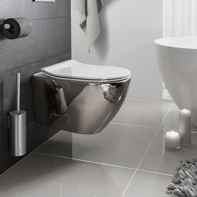 Bauhaus - Svelte Wall Hung Pan with Soft Close Seat - Platinum Large Image