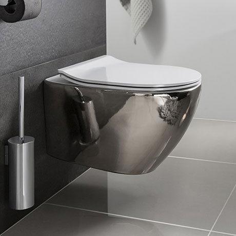 Bauhaus - Svelte Wall Hung Pan with Soft Close Seat - Platinum