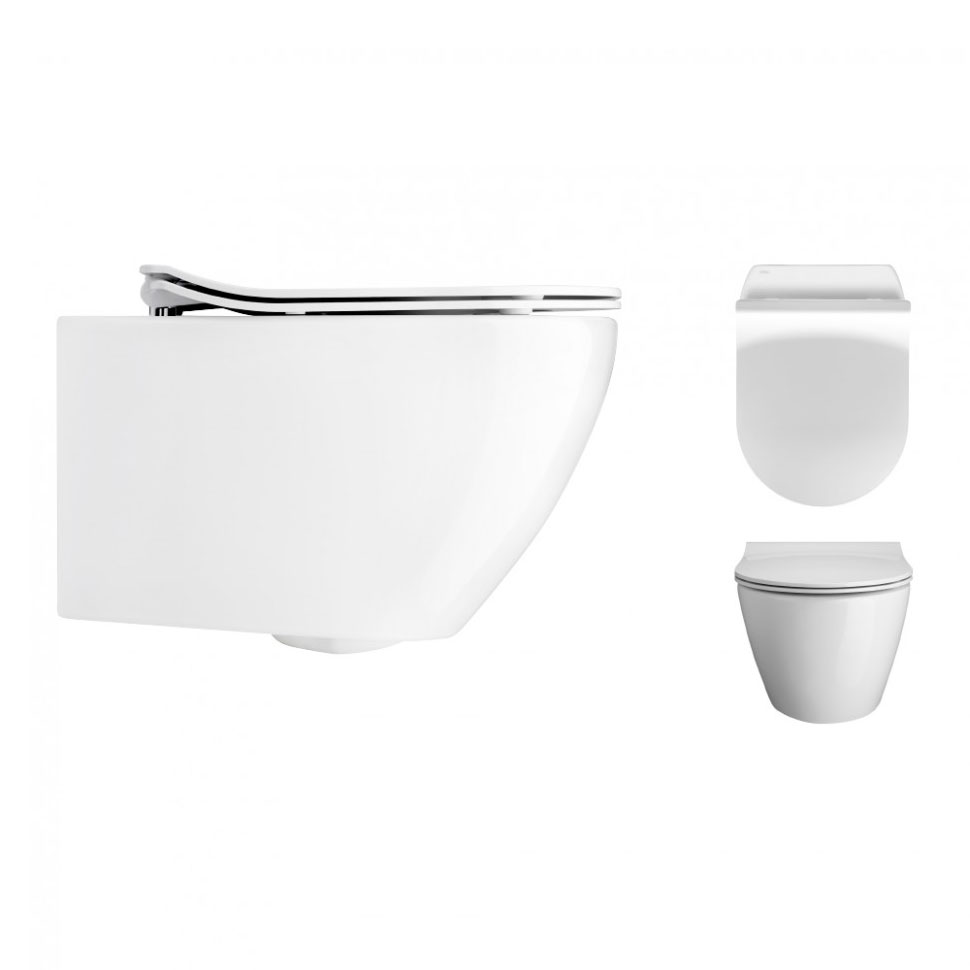 Bauhaus - Svelte Wall Hung Pan with Soft Close Seat - White profile large image view 2