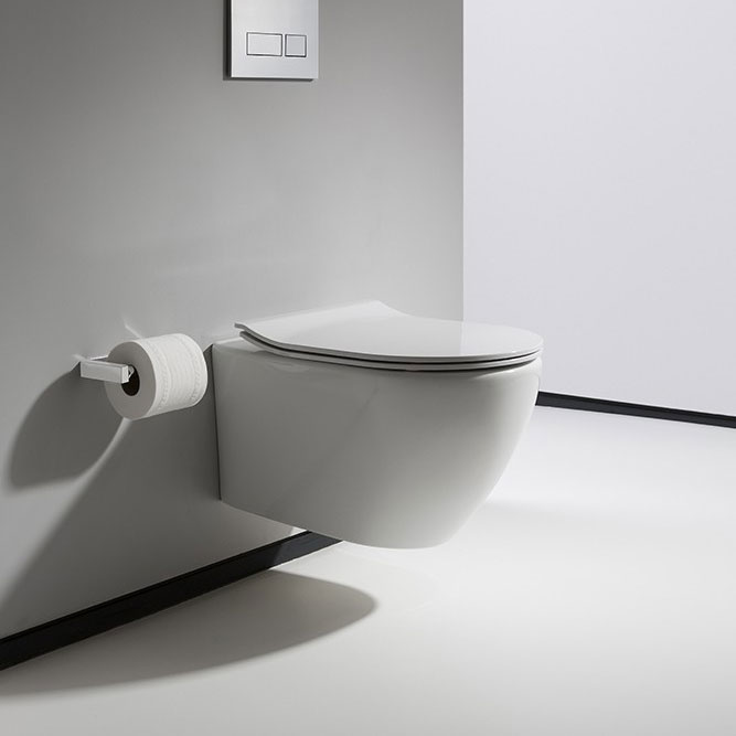 Bauhaus - Svelte Wall Hung Pan with Soft Close Seat - White profile large image view 1