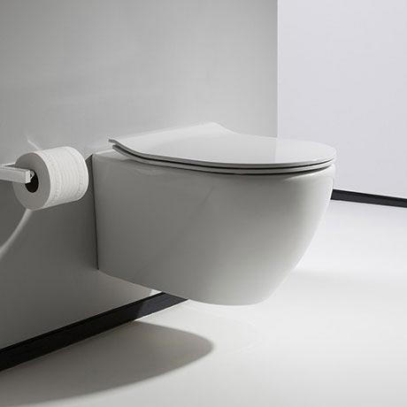 Bauhaus - Svelte Wall Hung Pan with Soft Close Seat - White