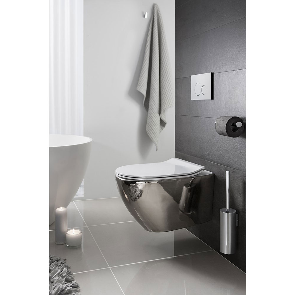 Bauhaus - Svelte Wall Hung Pan with Soft Close Seat - Platinum Feature Large Image