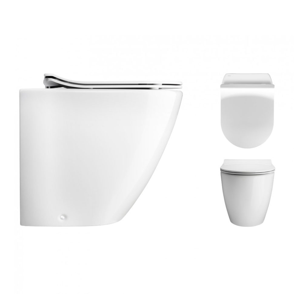 Bauhaus - Svelte Back to Wall Pan with Soft Close Seat - White profile large image view 2