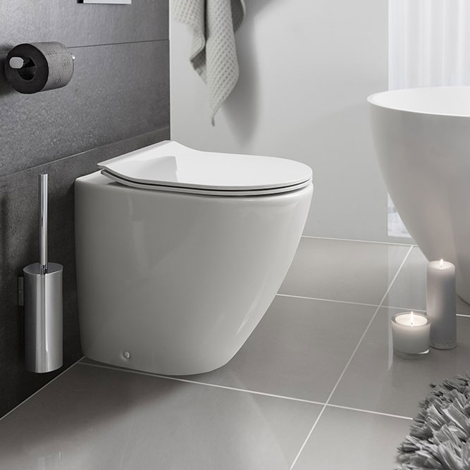 Bauhaus - Svelte Back to Wall Pan with Soft Close Seat - White profile large image view 1