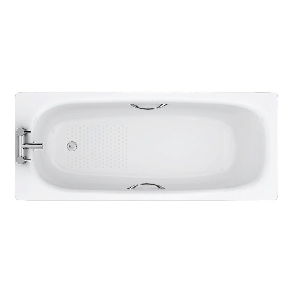 Aurora 1700 x 700mm 2TH Steel Enamel Bath with Grips + Anti Slip