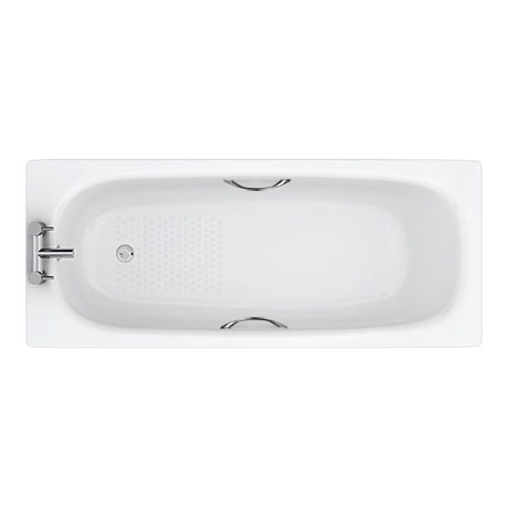 Aurora 1700 x 700mm 2TH Steel Enamel Bath with Grips + Anti Slip