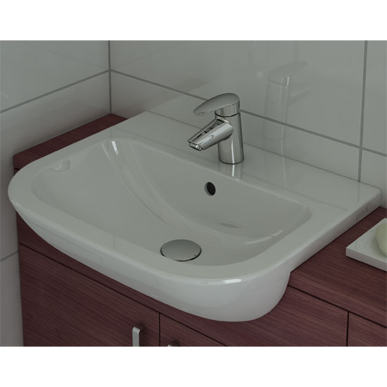 Vitra - S20 Model 55cm Semi-Recessed Wash Basins - 1 or 2 Tap Hole Feature Large Image
