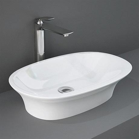 RAK Sensation 600 x 380mm 0TH Oval Counter Top Basin - SENCT6000AWHA