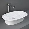 RAK Sensation 600 x 380mm 0TH Oval Counter Top Basin - SENCT6000AWHA profile small image view 1