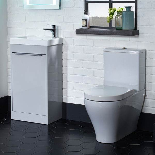 Tavistock Sequence 450mm Freestanding Unit with Basin - Gloss Light Grey profile large image view 2