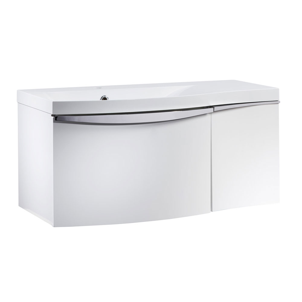 Roper Rhodes Serif 900mm Wall Mounted Unit - Gloss White - Left or Right Hand Option profile large image view 1