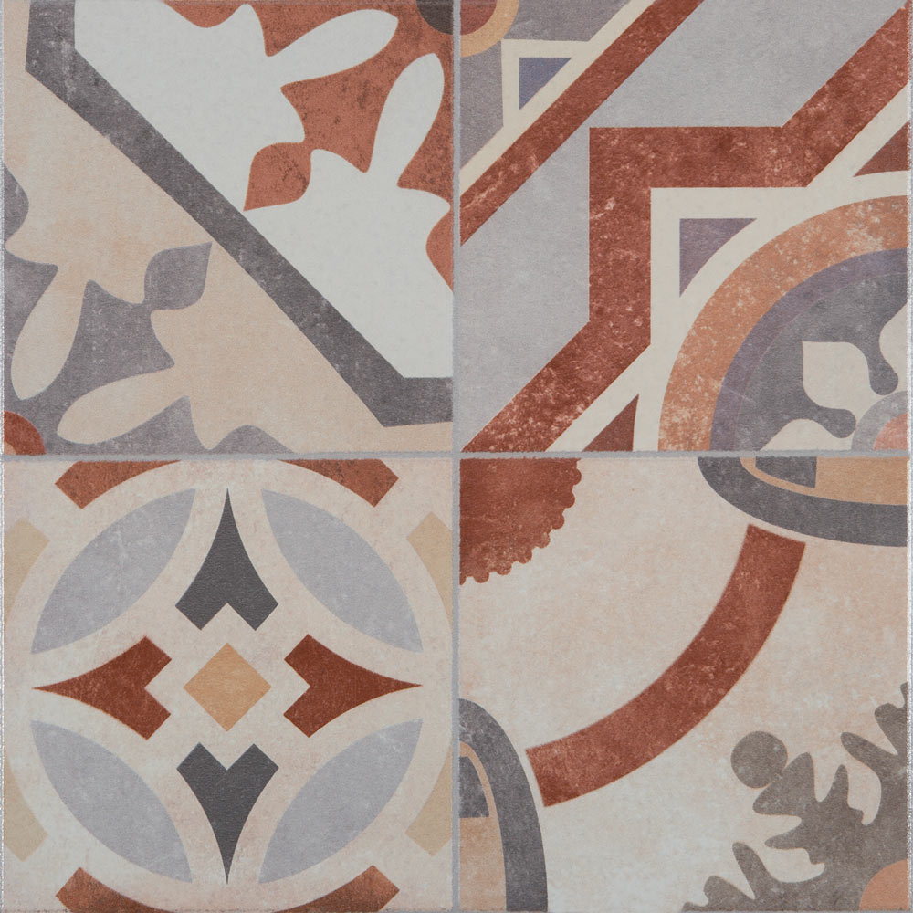 Seville Patterned Floor Tiles - 333 x 333mm  Profile Large Image