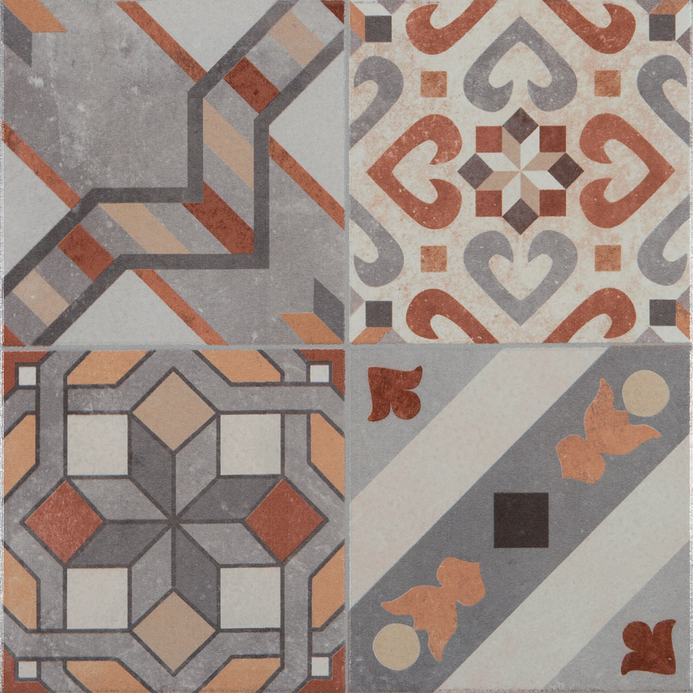 Seville Patterned Floor Tiles - 333 x 333mm  Feature Large Image