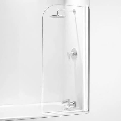 Coram Curved Bath Screen - 800mm Wide - White - SFR80CUW