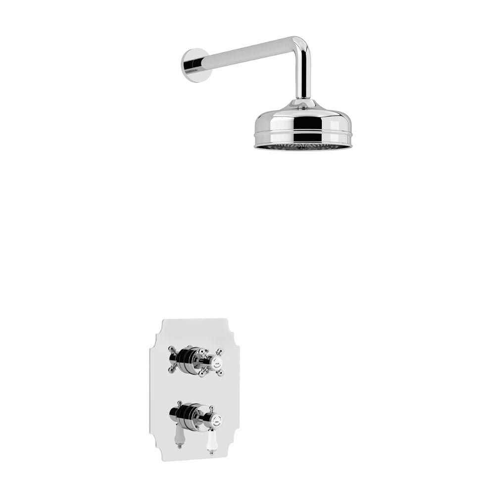 Heritage Glastonbury Recessed Shower with Premium Fixed Head Kit - Chrome - SGDUAL01 profile large image view 1