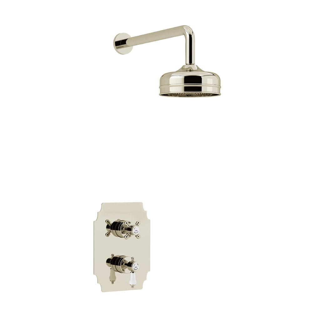 Heritage Glastonbury Recessed Shower with Premium Fixed Head Kit - Vintage Gold - SGDUAL02 profile large image view 1