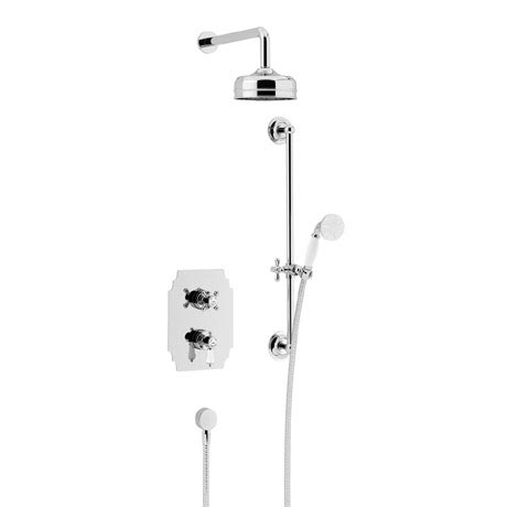 Heritage Glastonbury Recessed Shower with Premium Fixed Head & Flexible Riser Kit - Chrome - SGDUAL0
