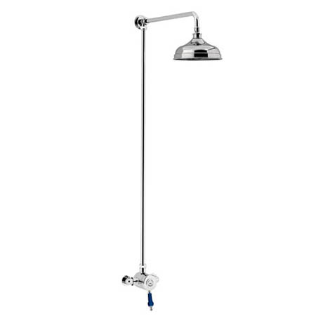 Heritage Glastonbury Midnight Blue Exposed Shower with Premium Fixed Riser Kit - SGRBLSIN01