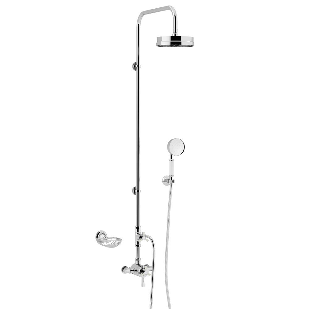 Heritage Gracechurch Mother of Pearl Exposed Shower with Deluxe Fixed Riser Kit & Diverter to Handset - SGRDMOPDUAL01