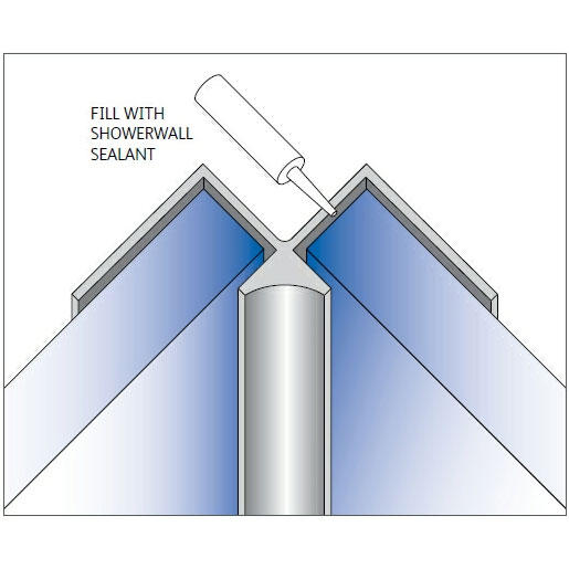 Showerwall - Internal Corner Fixing Trim - 5 Colour Options Large Image