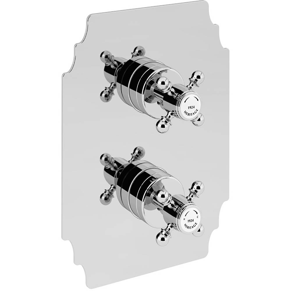 Heritage Hartlebury Twin Concealed Shower Valve with Two Outlet Diverter - Chrome - SHDC03