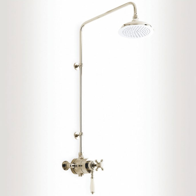 Heritage - Hartlebury Dual Exposed Thermostatic Valve with Rigid Riser - Vintage Gold - SHDDUAL02 Large Image