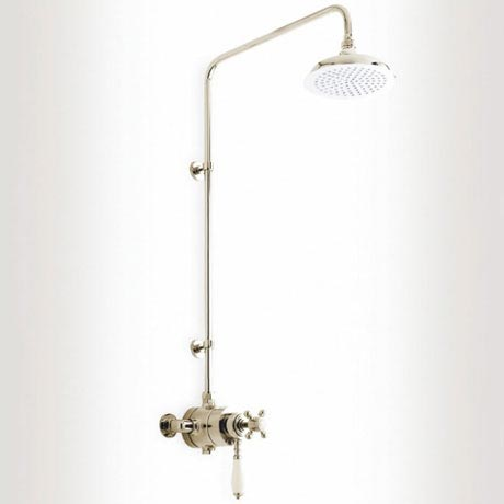 Heritage - Hartlebury Dual Exposed Thermostatic Valve with Rigid Riser - Vintage Gold - SHDDUAL02