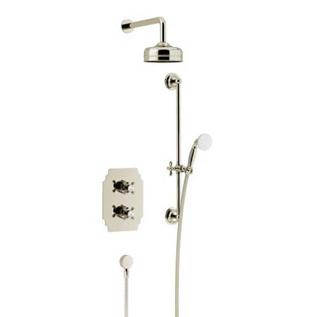 Heritage Hartlebury Recessed Shower with Premium Fixed Head and Flexible Riser Kit - Vintage Gold -