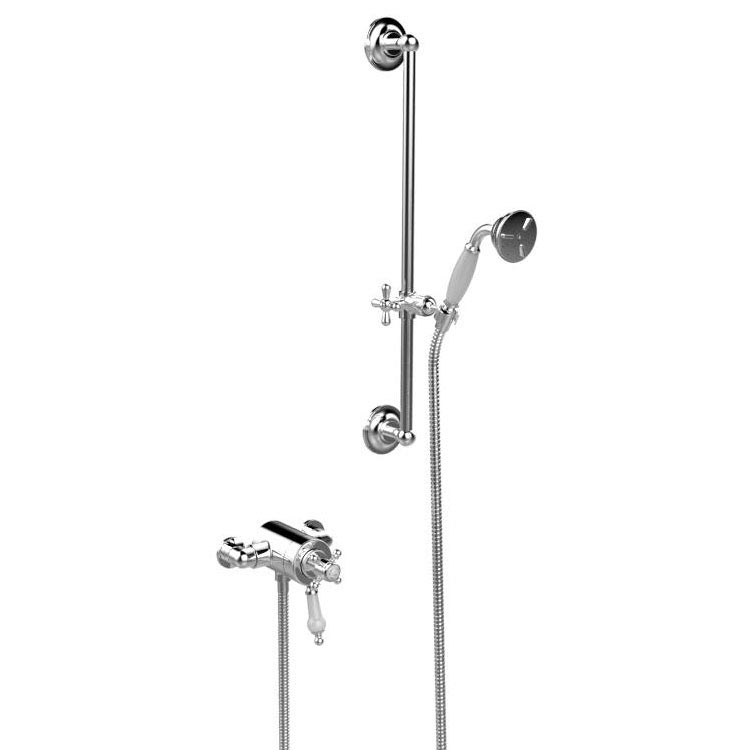 Heritage Hartlebury Exposed Shower with Premium Flexible Riser Kit - Chrome - SHDDUAL09 Large Image