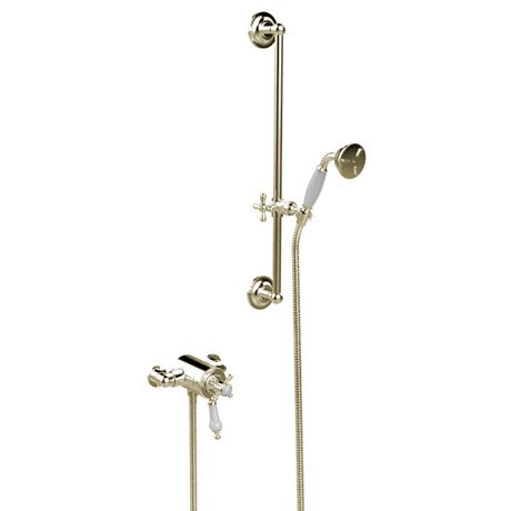 Heritage Hartlebury Exposed Shower with Premium Flexible Riser Kit - Vintage Gold - SHDDUAL10