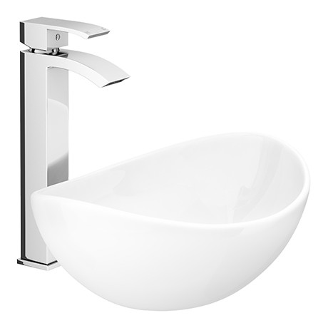 Summit High Rise Mono Basin Mixer with Shell Sit-on Vanity Basin