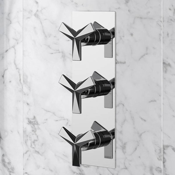 Heritage Hemsby Dual Control Recessed Valve with Twin Integral Stopcocks - Chrome profile large image view 2