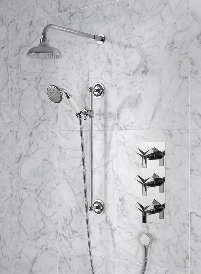 """Heritage Hemsby Dual Control Recessed Valve with Twin Stopcock, 6"""" Fixed Head and Handset Large Image"""